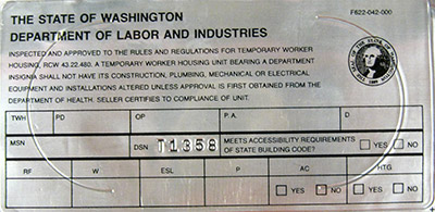 Temporary Worker Housing Label